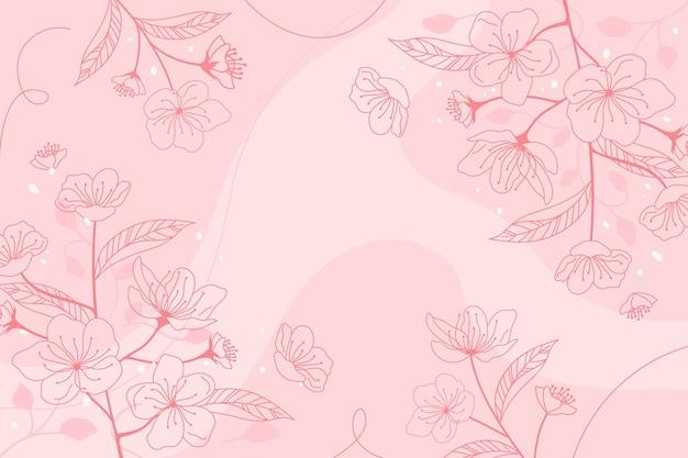 Floral achtergrond hand getrokken Gratis Vector