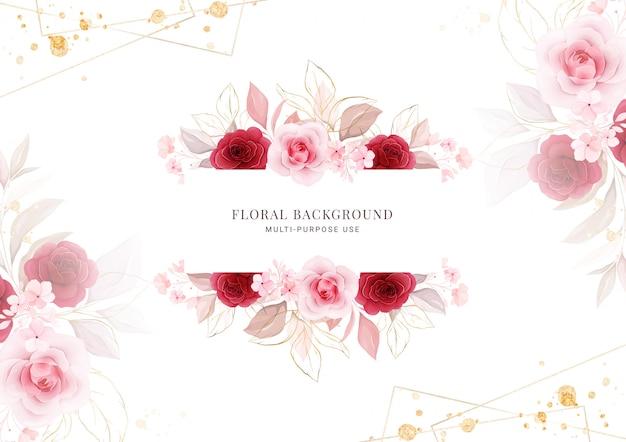 Floral achtergrond. horizontaal bloemenframe.