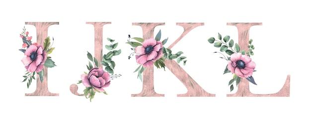 Floral alfabet i, j, k, l.
