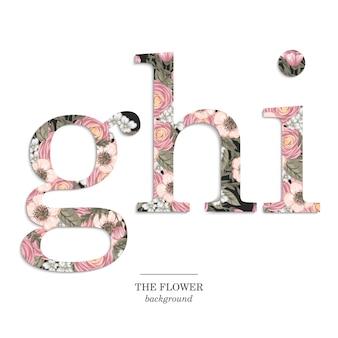 Floral alfabet ingesteld