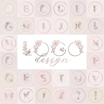 Floral alfabet met bewerkbare logo ontwerpsjablonen