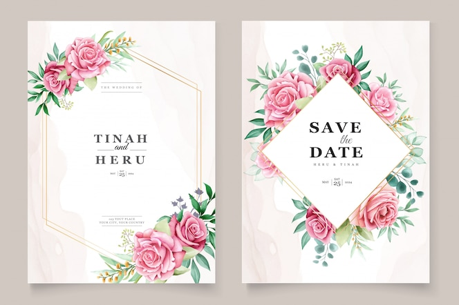 Floral aquarel bruiloft uitnodiging sjabloon