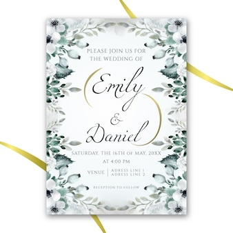 Floral aquarel bruiloft uitnodiging