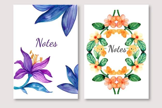 Floral aquarel ontwerp van notities sjabloon