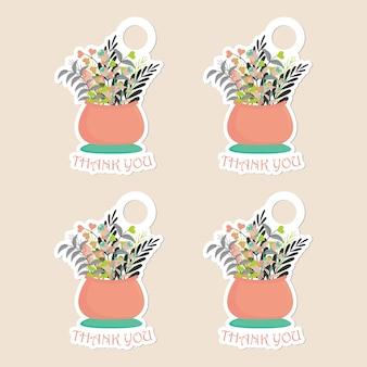 Floral bedankt tag set sjabloon met vaas met bloemen