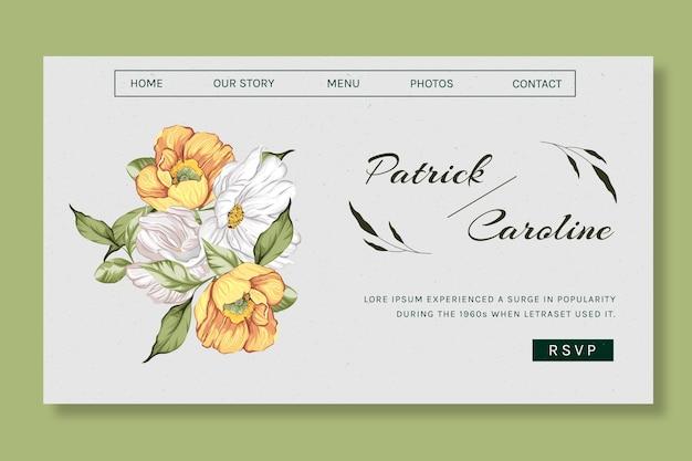 Floral bestemmingspagina sjabloon voor bruiloft
