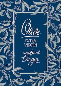 Floral blauwe vintage poster met tekst in frame en olijfboomtakken in schetsstijl