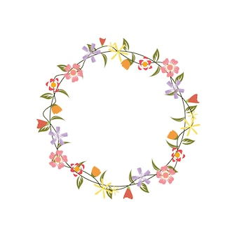 Floral bloem krans frame platte ontwerp illustratie
