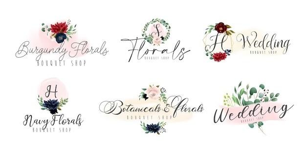 Floral botanische en vrouwelijke logo-collectie