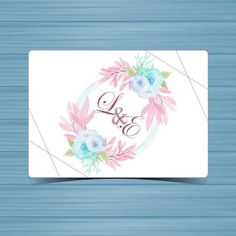 Floral bruiloft badge met mooie blauwe rozen
