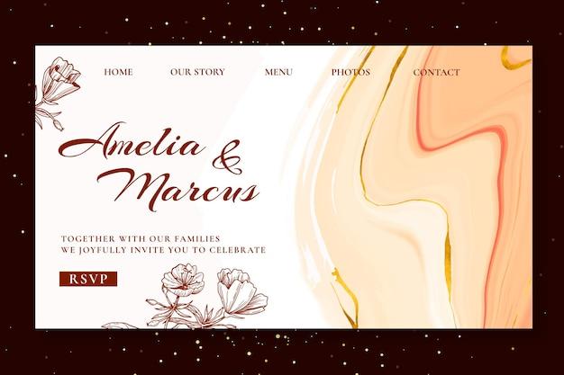 Floral bruiloft bestemmingspagina ontwerp