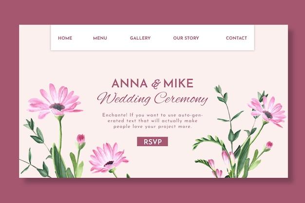 Floral bruiloft bestemmingspagina sjabloon Premium Vector