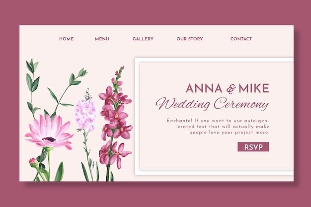 Floral bruiloft bestemmingspagina Premium Vector