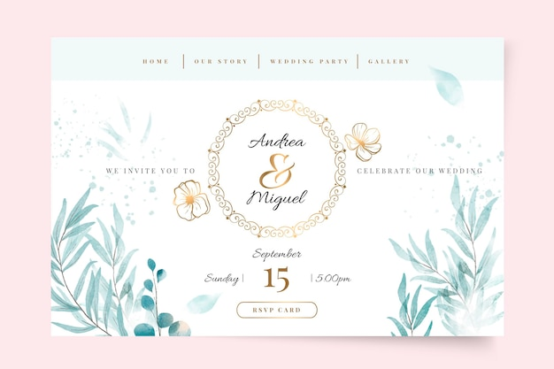 Floral bruiloft bestemmingspagina