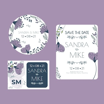 Floral bruiloft briefpapier collectie