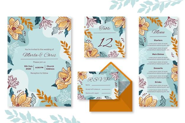 Floral bruiloft briefpapier set