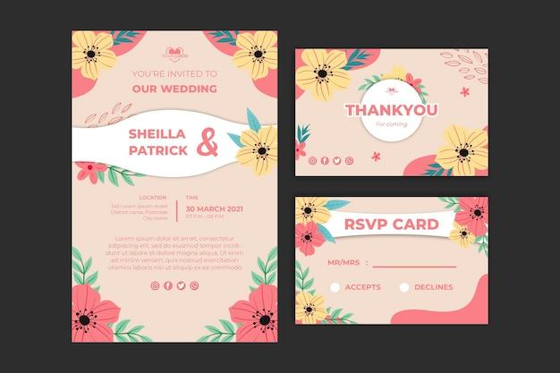 Floral bruiloft briefpapier sjabloon collectie