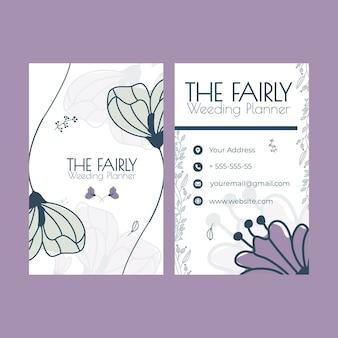 Floral bruiloft dubbelzijdig visitekaartje set