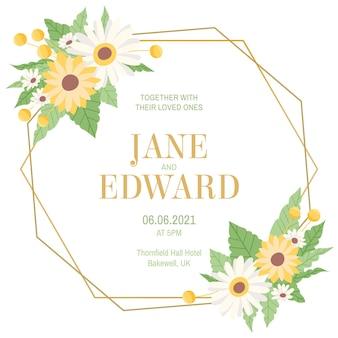 Floral bruiloft frame sjabloon
