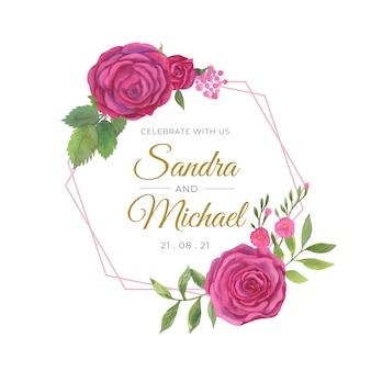 Floral bruiloft frame