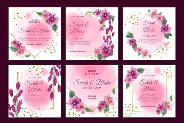 Floral bruiloft instagram-berichten instellen
