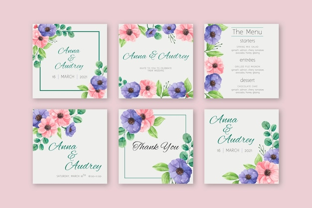 Floral bruiloft instagram-berichten