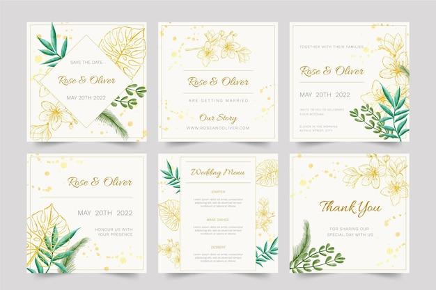 Floral bruiloft instagram posts sjabloonontwerp