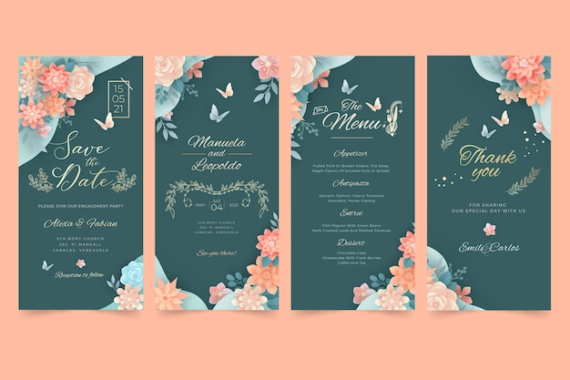 Floral bruiloft instagram verhalen pack