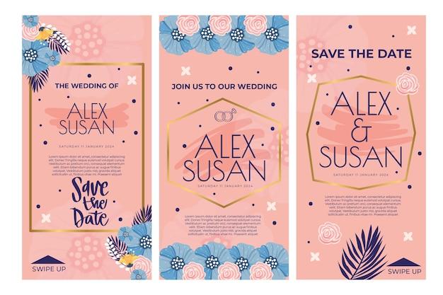 Floral bruiloft instagram verhalen sjabloon