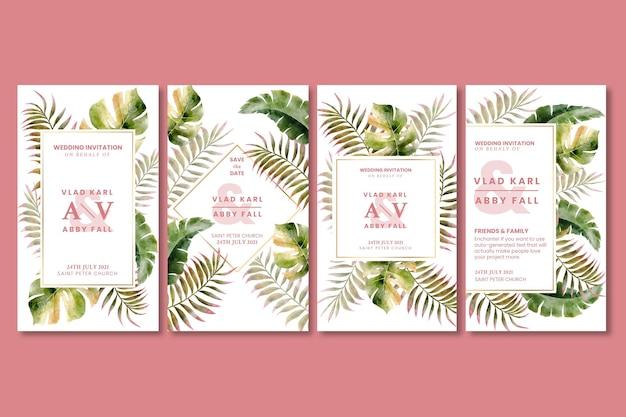 Floral bruiloft instagramverhalen Gratis Vector