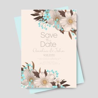 Floral bruiloft kaart uitnodiging.