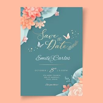Floral bruiloft kaart