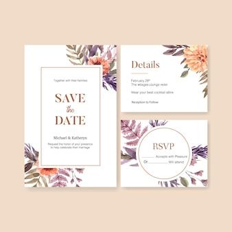 Floral bruiloft kaartenset