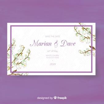 Floral bruiloft kaartsjabloon