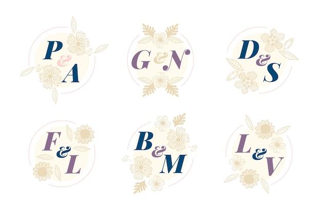Floral bruiloft logo collectie