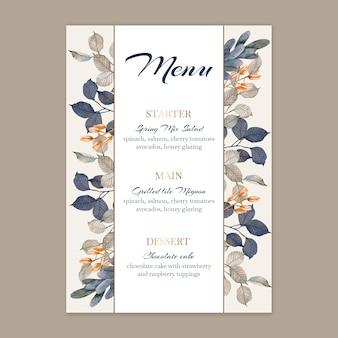 Floral bruiloft menusjabloon
