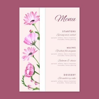 Floral bruiloft menusjabloon Gratis Vector