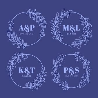 Floral bruiloft monogrammen collectie
