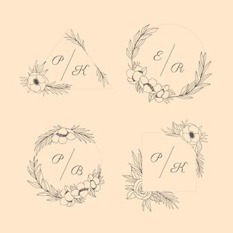 Floral bruiloft monogrammen instellen
