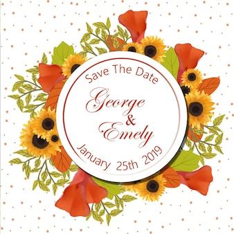 Floral bruiloft uitnodiging badge