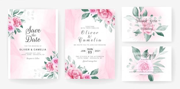 Floral bruiloft uitnodiging kaartsjabloon ingesteld met aquarel bloemen regelingen.