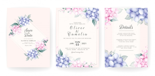 Floral bruiloft uitnodiging kaartsjabloon ingesteld met aquarel bloemstukken en rand.