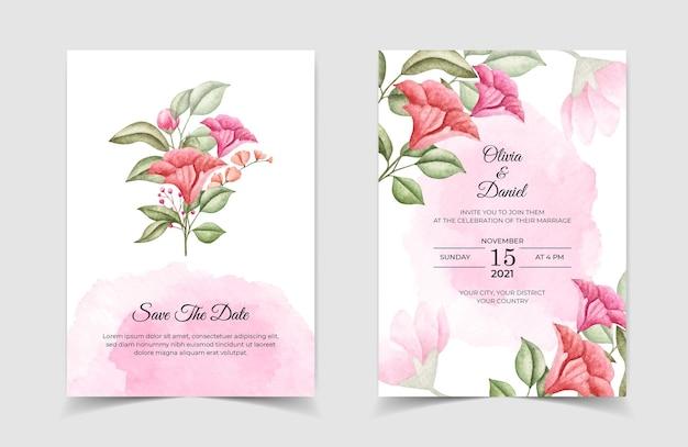 Floral bruiloft uitnodiging kaartsjabloon set met prachtige bloemen