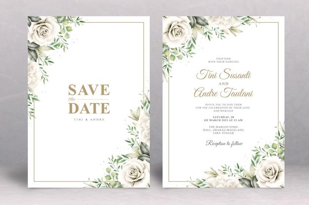 Floral bruiloft uitnodiging kaartsjabloon