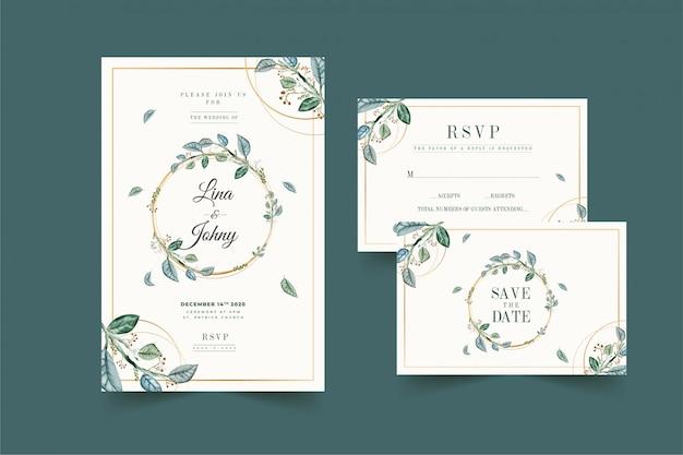 Floral bruiloft uitnodiging met gouden frame