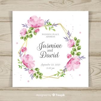 Floral bruiloft uitnodiging sjabloon met gouden frame