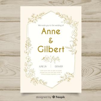 Floral bruiloft uitnodiging sjabloon met gouden ontwerpelementen