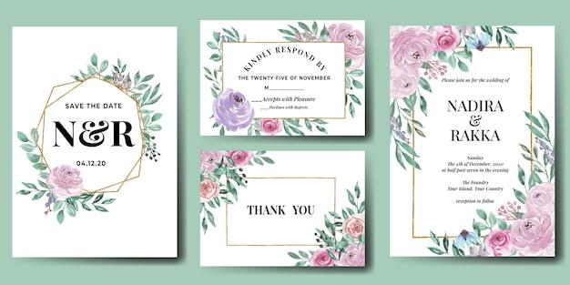 Floral bruiloft uitnodiging sjabloon set elegant