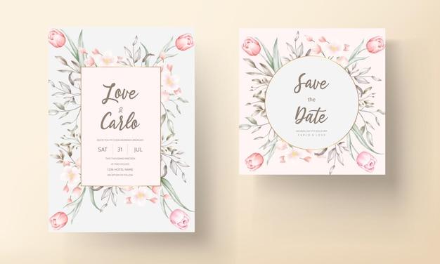 Floral bruiloft uitnodiging sjabloon set met bruin en perzik bloemen en bladeren decoratie