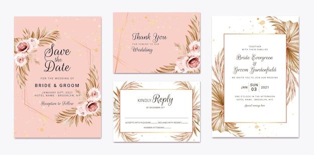 Floral bruiloft uitnodiging sjabloon set met bruine bloemen en bladeren decoratie. botanische kaart ontwerpconcept